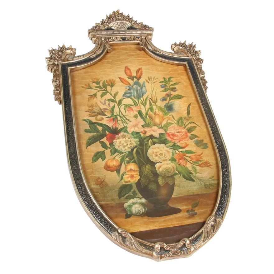 Giltwood Framed Floral Shield-Shaped Wall Plaque