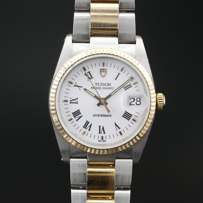 1990 Tudor Prince-Quartz Oysterdate 18K and Stainless Steel Wristwatch