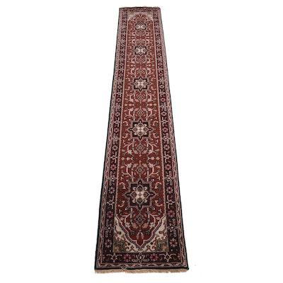 2'7 x 16' Hand-Knotted Caucasian Karache Viss Serapi Heriz Wool Runner Rug