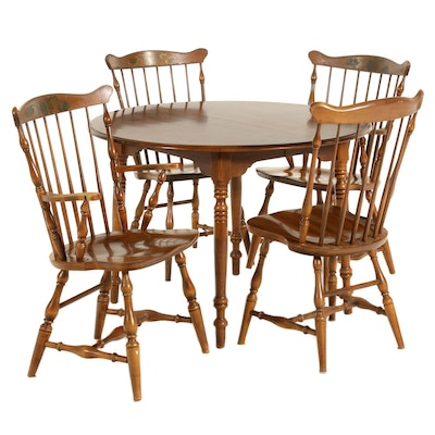 Hitchcock Maple Dining Table and Spindle Back Chairs, Mid-20th Century