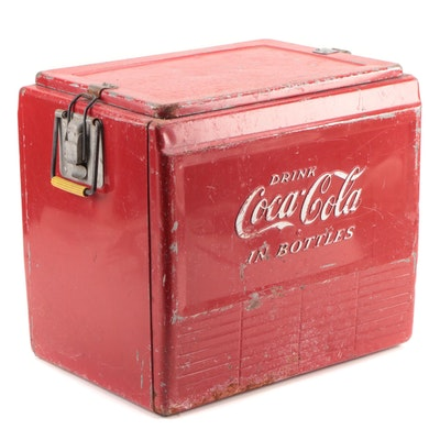 """Drink Coca-Cola in Bottles"" Metal Ice Chest or Cooler, Mid-20th Century"