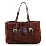 Fendi Shoulder Bag in Dark Brown Suede with Leather Trim and Enamel FF Logo