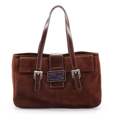 Fendi Shoulder Bag in Dark Brown Suede with Leather Trim and Enamel FF Logo