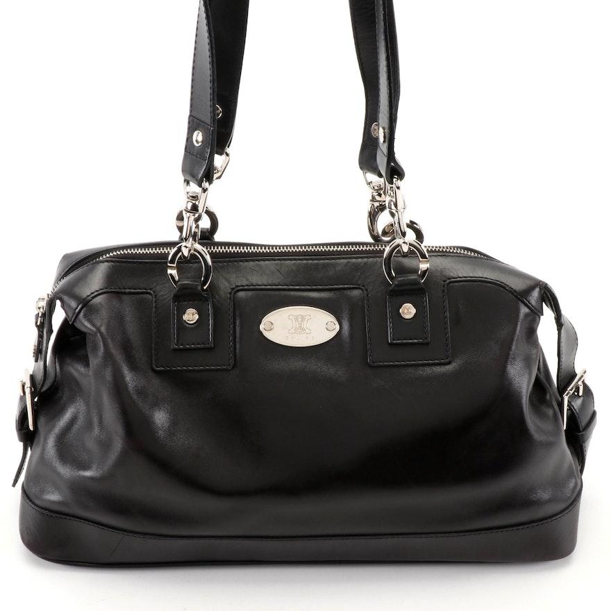 Celine Black Leather Baguette Shoulder Bag
