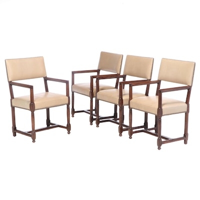 "Four Dessin Fournir ""Carlotta"" Walnut and Leather Armchairs with Nailhead Trim"