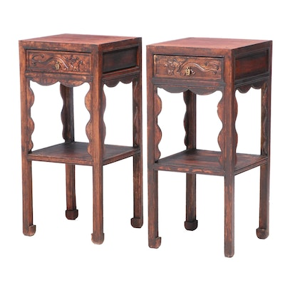 Pair of Chinese Hardwood Two-Tier Side Tables