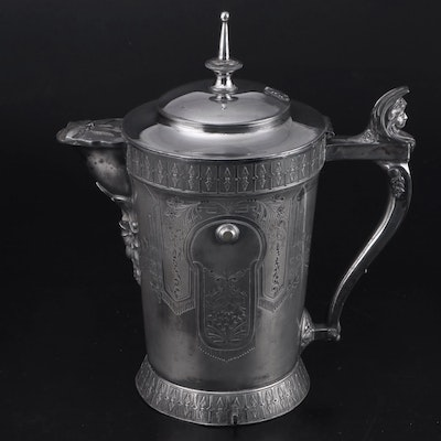 Meriden Silver Plate Co. Chased Silver Plate Water Pitcher