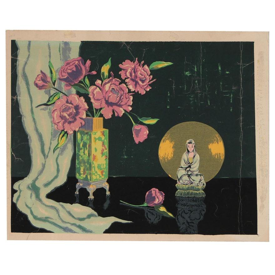 Oscar Murillo East Asian Inspired Still Life Serigraph