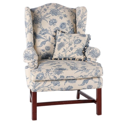 Chippendale Style Upholstered Wing Back Arm Chair, Late 20th Century
