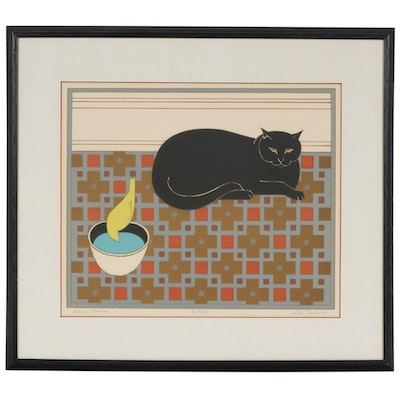 "Will Barnet Color Lithograph ""Cat and Canary"", Mid to Late 20th Century"