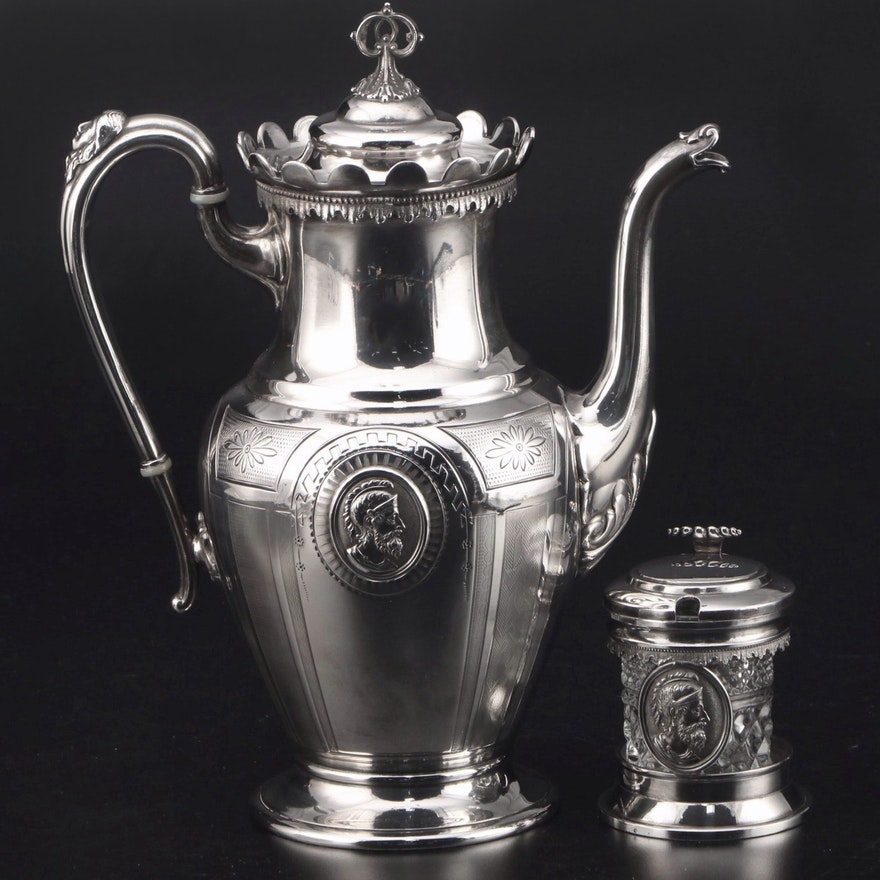 Reed & Barton Silver Plate Coffee Pot and Mustard Pot with Medallion Motif