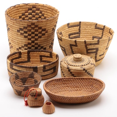 Woven Baskets Including Native American Style, Early to Mid 20th Century