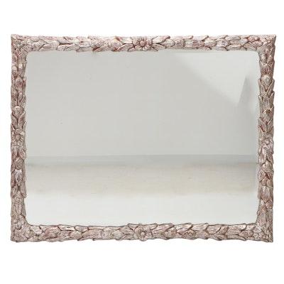 Silver Tone Painted Wood Foliate Wall Mirror