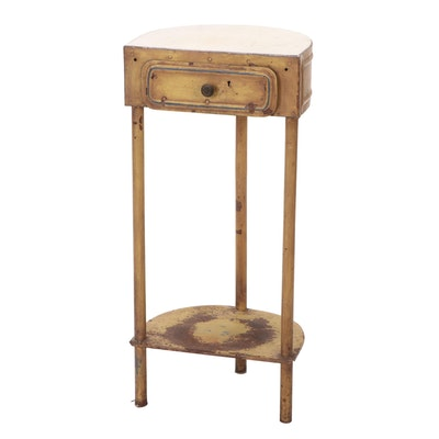 Painted Metal Side Table with Marble Top