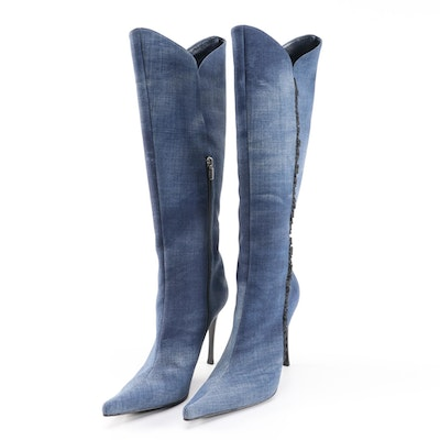 Casadei Chambray Style Knee-High Boots with Black Ruffle Trim