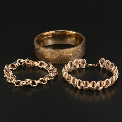 Rolo Chain Bracelets and Etched Bangle Featuring Vintage Krementz and Craftmere