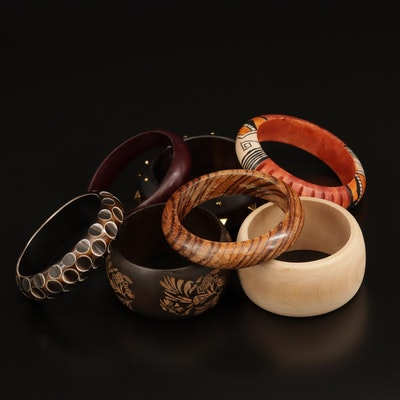 Selection of Wooden Bangles with Carved and Painted Designs