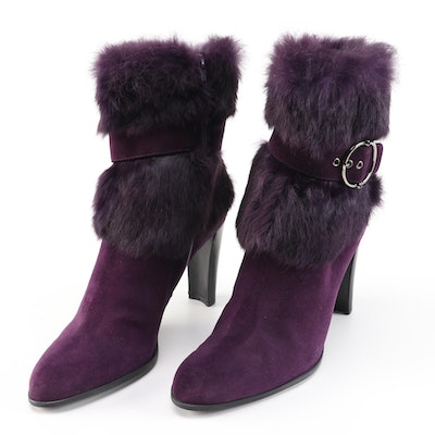 Stuart Weitzman Purple Suede and Rabbit Fur High Heel Boots