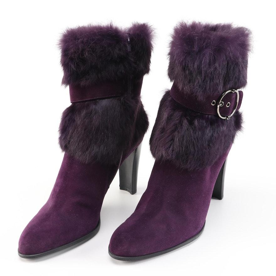 Stuart Weitzman Purple Suede and Rabbit Fur High Heel Boots
