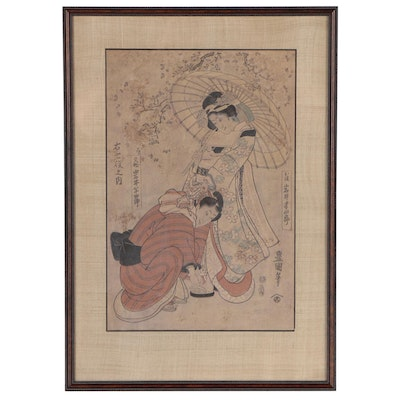After Utagawa Toyokuni I Woodblock Print of Kabuki Actors