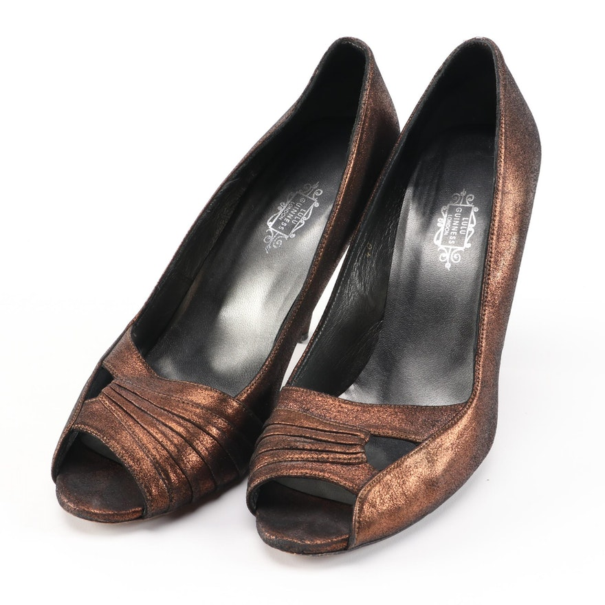 Lulu Guinness Bronze Metallic Leather Peep Toe Pumps