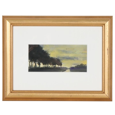 """Paul Hamilton Impressionist Style Gouache Painting """"A Quiet Place"""""""