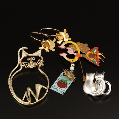 Assorted Whimsical Cat and Figural Costume Jewelry Including Karen Rossi Brooch
