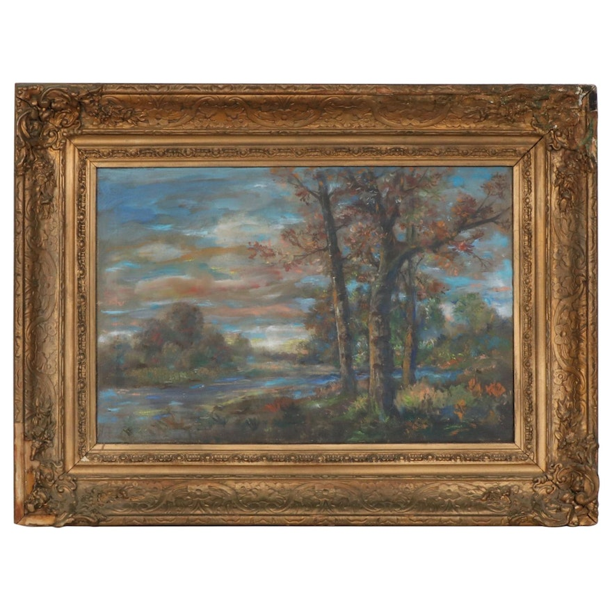 River Landscape at Sunset Oil Painting, 19th Century
