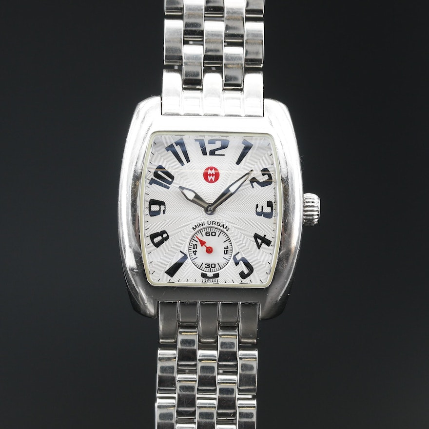 "Michele ""Mini Urban"" Stainless Steel Quartz Wristwatch"