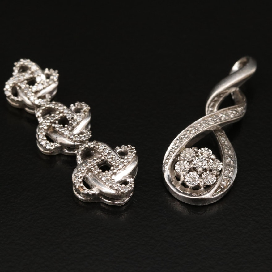 Sterling Silver Diamond Flower and Graduated Knot Pendants