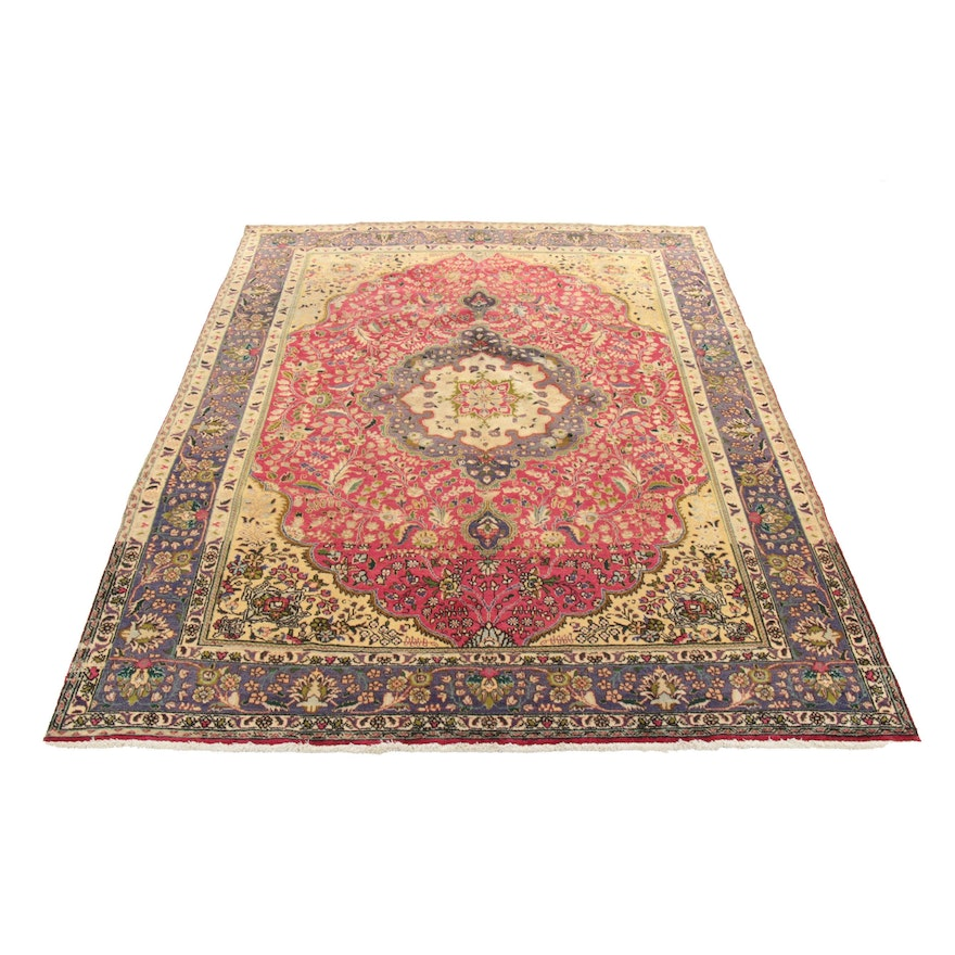 8'2 x 10'10 Hand-Knotted Persian Tabriz Wool Rug, 1970s