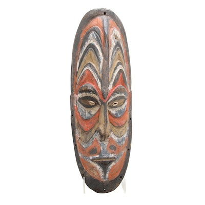 New Guinea Hand-Carved Amulet Mask with Natural Pigments