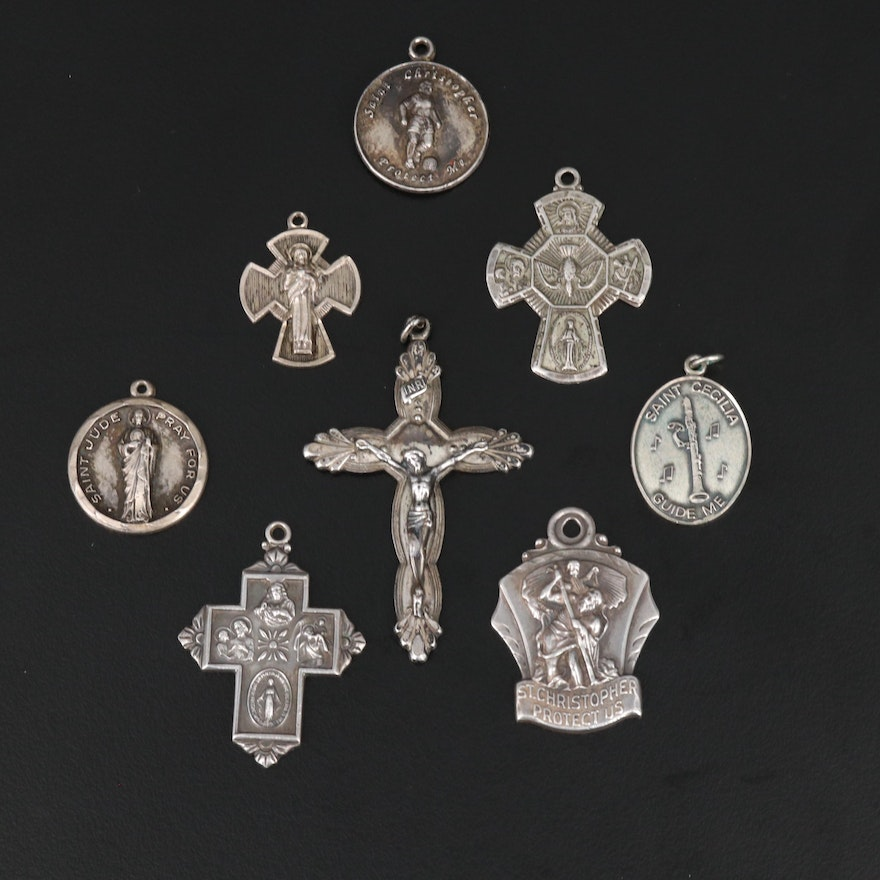 Sterling Silver Catholic Saint Pendants and Crosses