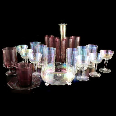 Plum and Iridescent Glassware