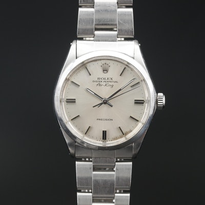 1974 Rolex Air King Stainless Steel Wristwatch