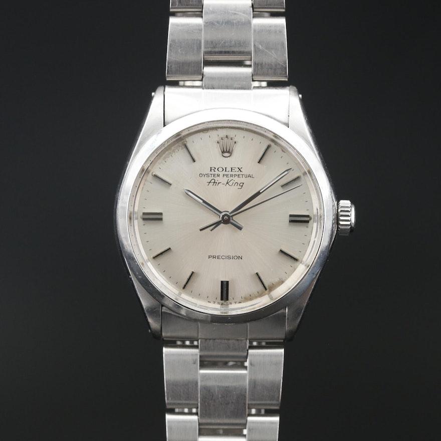 1974 Rolex Air King Stainless Steel Wristwatch
