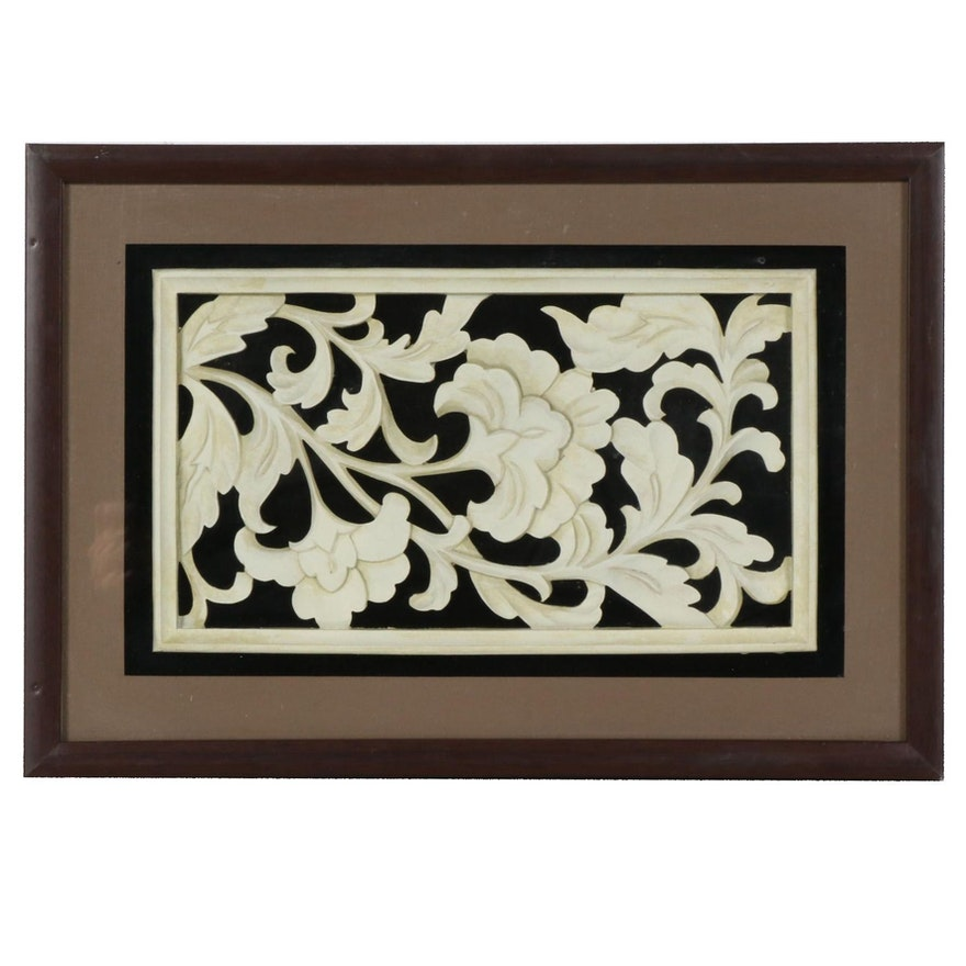 Plaster Foliate Pattern Architectural Panel in Shadow Box Frame