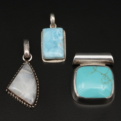 Sterling Silver Pendants with Rainbow Moonstone, Larimar and Turquoise