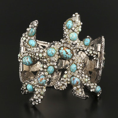 Art Glass and Rhinestone Biomorphic Statement Bracelet