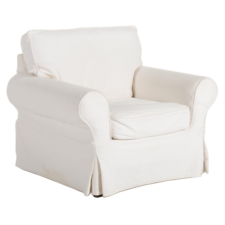 Pottery Barn Armchair with Mitchell Gold Canvas Slipcover, 21st Century