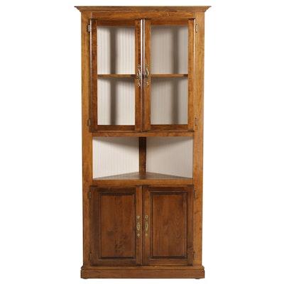 American Primitive Elm Corner Cabinet, 20th Century