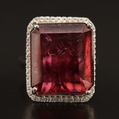 14K 25.00 CT Pink Tourmaline and Diamond Ring