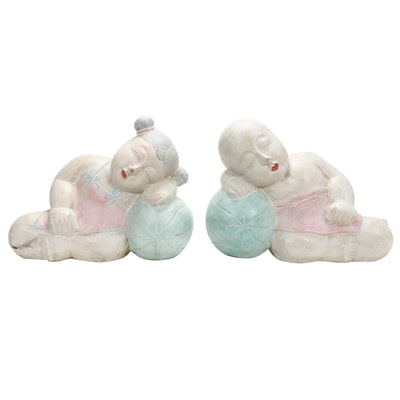 Wood Carved Chinese Sculptures of Babies Sleeping on Melons
