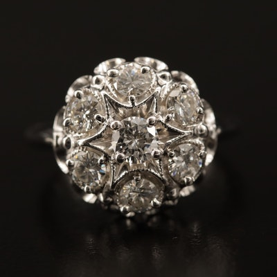 14K 1.19 CTW Diamond Cluster Ring
