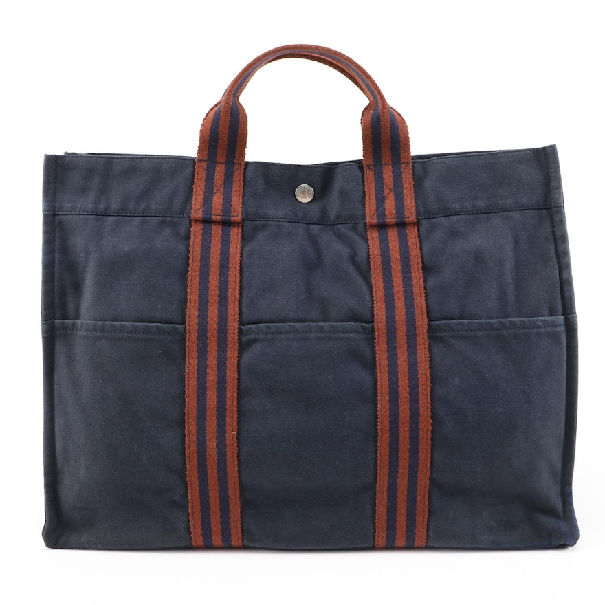 Hermès Paris Fourre Tout GM Tote in Navy and Striped Canvas