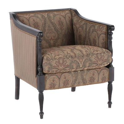 Hickory Chair Stained Wood Upholstered Arm Chair