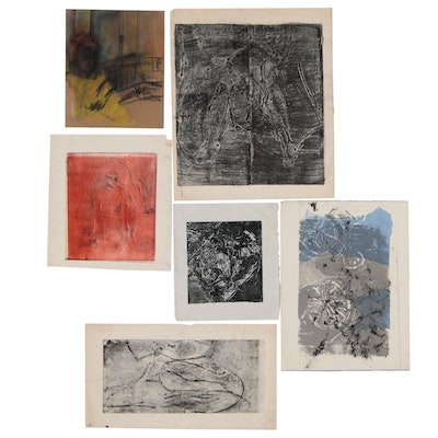 Oscar Murillo Abstract and Figural Mixed Media Works on Paper