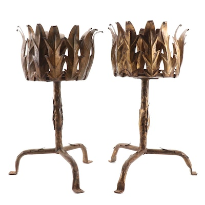 Pair of Italian Gilt Metal Acanthus Leaf Low Plant Stands, Mid-20th Century