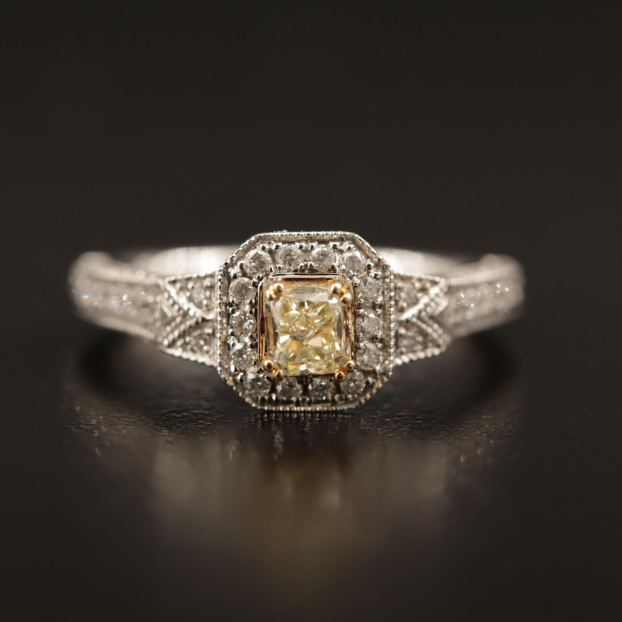 14K 1.06 CTW Diamond Ring with 18K Yellow Gold and Fancy Light Yellow Center