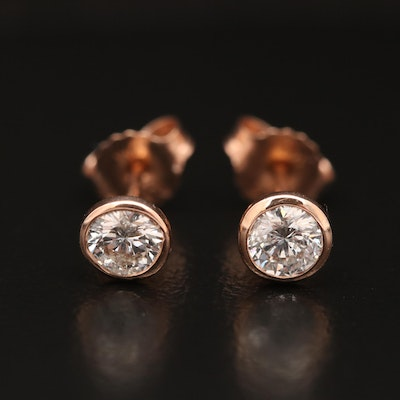 14K Rose Gold 0.64 CTW Diamond Solitaire Stud Earrings
